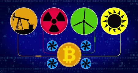 mining farm : Bitcoin cryptocurrency mining scheme concept. Nuclear, wind turbine, solar and oil energy for coins in seamless looped animation. Cryptography, transmission of electricity and coin production. Stock Footage
