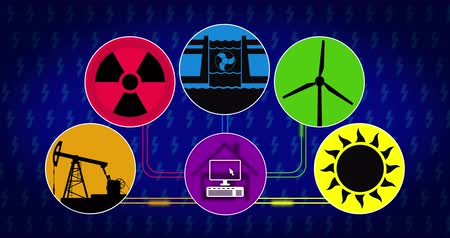 átomo : Electricity production and energy source animation concept. Symbols of energy consumption in loopable seamless footage. Icon of solar, wind, hydroelectric, nuclear and fossil fuels technology.