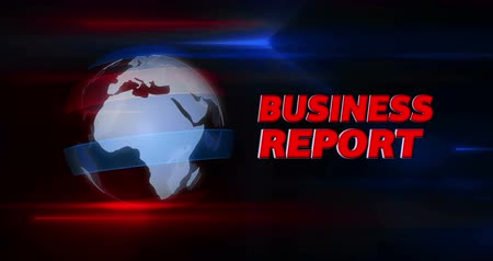 dinamik : Business report broadcasting news intro graphics animation. Lead-in with rotating globe on a dynamic blue background. Stok Video