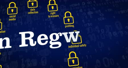 gdpr : Data Protection Regulation title, padlocks, paragraph symbol and cyber safety keywords on blue background. 3D rendering concept animation. Stock Footage