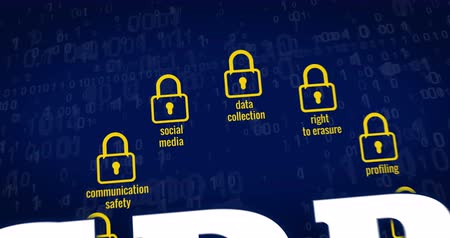 gdpr : GDPR - General Data Protection Regulation, padlocks, paragraph symbol and cyber security buzzwords on blue digital background. 3D rendering concept animation.