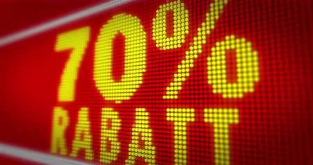 neve : Verkauf (sale in german) 70% title on big LED display. Promotional message seamless and loopable animation. Stock Footage