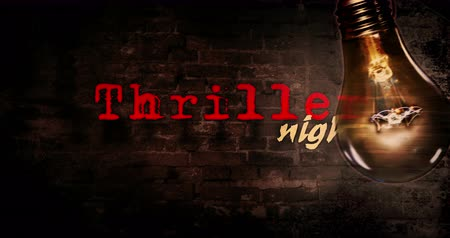 dread : Thriller movie night intro and background. Opener for cinema event with large blinking bulb and old brick wall. Spooky atmosphere animation. Stock Footage