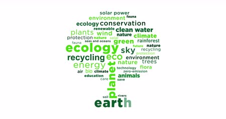 океаны : Ecology slogans coming from back and creating green tree shape on white background. Finally, camera fly out between all eco buzzwords.
