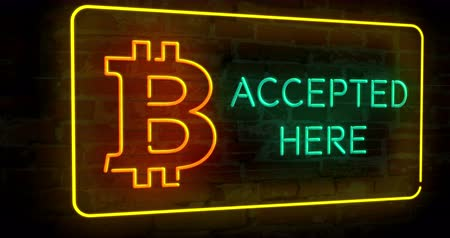 bitcoin accepted : Bitcoin accepted here 3D neon lights on a brick wall abstract background animation. Blockchain currency symbol. Stock Footage