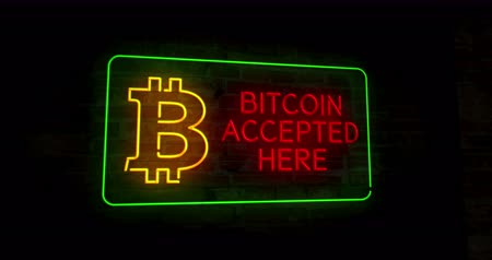 bitcoin accepted : Bitcoin accepted here 3D neon lights on brick wall abstract background retro style animation. Blockchain, cryptocurrency symbol.