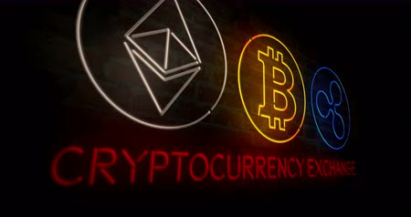 электронная коммерция : Cryptocurrency exchange. Bitcoin, ethereum and ripple neon stylized symbols on a brick wall abstract background in 3D rendered animation.