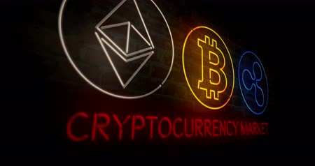 монета : Cryptocurrency market. Bitcoin, ethereum and ripple neon stylized symbols on a brick wall abstract background in 3D rendered animation.