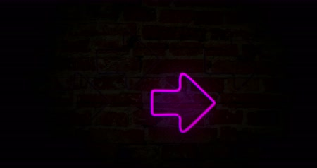 parede de tijolos : Arrows neon symbols in step by step. Glowing direction sign on brick wall background. Seamless and loopable.