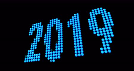 elétron : Countdown is 2019 year finally. Digits smoothly changing by morphing particles.