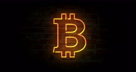 articles : Bitcoin neon sign light on brick wall background. Glowing large illuminated advertisement in looped concept animation. Retro style. Stock Footage