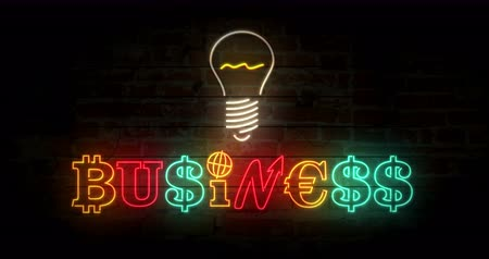 durgunluk : Business concept neon light on brick wall background. Glowing illuminated characters build by dollar, bitcoin and euro sign. Looped retro style animation.