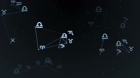 Beautiful plexus with zodiac signs, stars. Group of stars forming a constellation. Loop Animation.