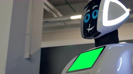 разведка : Cheboksary, Russia - September 26, 2017: City of robots. A robot with a display shows emotions, talking. Modern technology. Close-up.