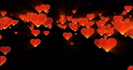 trouwen : Valentines day birthday abstract background,flying chopped glass hearts on black. Loopable 4k 3d rendering