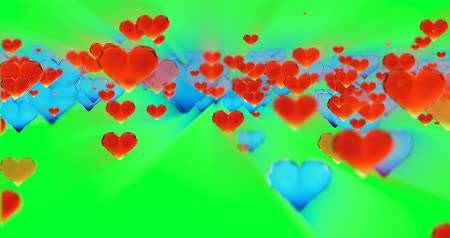 casar : Valentines day birthday abstract background,flying chopped glass hearts on green. Loopable 4k 3d rendering Vídeos