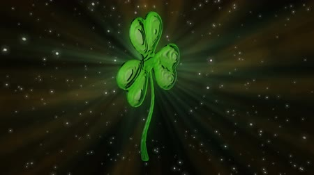 art : St Patricks Day clover loop. HD1080p Wideo