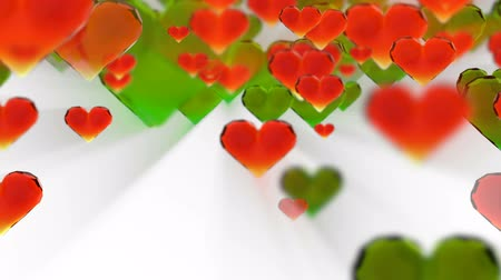 trouwen : Valentines day birthday abstract background, flying chopped glass hearts on white. Loopable fullHD 3d rendering