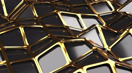 размеры : The golden and polygonal lowpoly grille has a black reflective surface in a minimalist design. Abstract 3d 4K High Quality reder animation seamless background