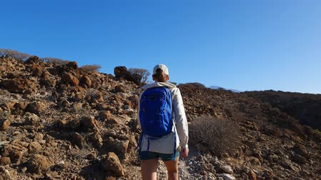 Young woman with backpack hiking in desert hills of Tenerife island, Spain