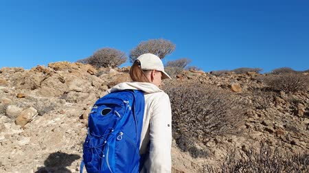 área de deserto : Young woman with backpack hiking in desert hills of volcanic island