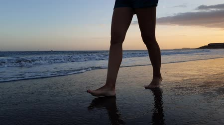 pegadas : Young woman walking in ocean waves on the beach at sunset Stock Footage