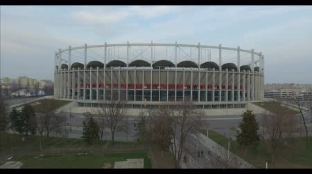 sicília : 4K log drone shot of Lia Manoliu Stadium in Bucharest, Romania Stock Footage