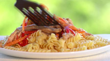 molho de tomate : Arranging on a plate pasta and meat with vegetables