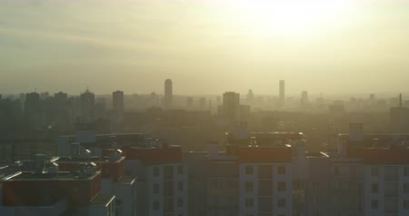 los angeles skyline : City sunset. The city in a haze. Quadcopter