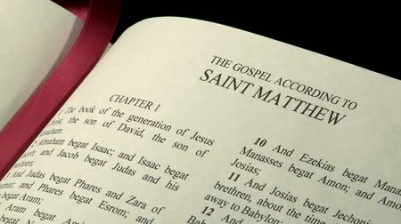 verse : The Holy Bible, Gospel of Matthew Stock Footage
