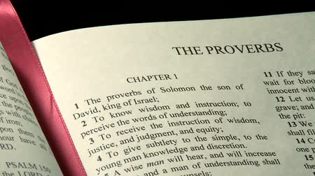 verse : Holy Bible, Book of Proverbs Stock Footage