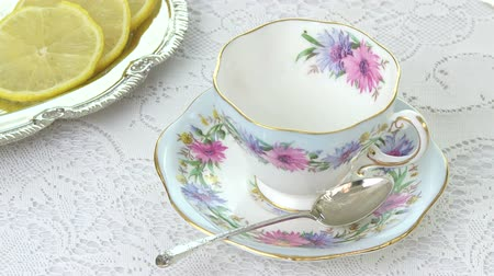 black tea : Antique Tea Cup with Lemons