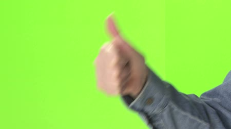 polegar : Thumbs up and down on green screen