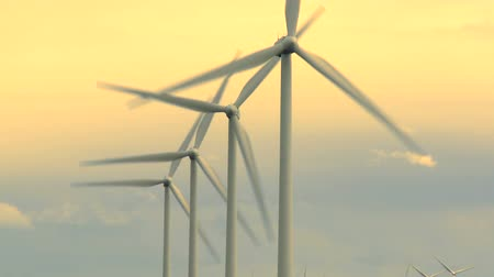 sustentável : Wind farm turbines and sky Stock Footage