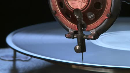 agulha : Antique Phonograph close up Stock Footage