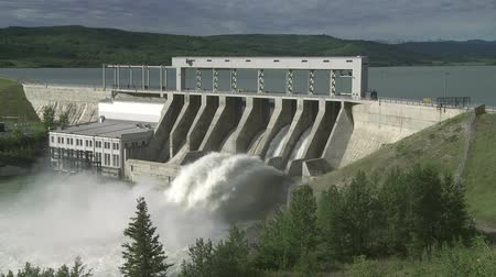 High water in hydroelectric dam spillway