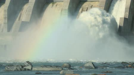 Spillway of the Ghost Hydroelectric Dam on the Bow River, Alberta Canada.