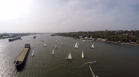 zeilboot : Yachting-sport in Rostov aan de Don Stockvideo