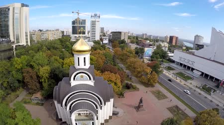 değil : Aerial view Pokrovskiy Sobor in center of Rostov on Don. Street bolshaya sadovaya Stok Video