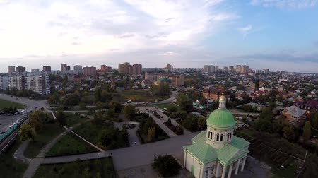 sobor : Aerial view drone church of Rostov on Don. Surb hach Stock Footage