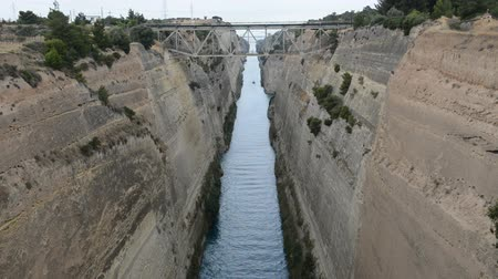 saronic : The Corinth Canal connects the Gulf of Corinth with the Saronic Gulf in the Aegean Sea, Peloponnes, Greece