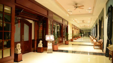lobi : The entrance in restaurant and interior of luxury hotel with working ventilators, Ajman, UAE Stok Video