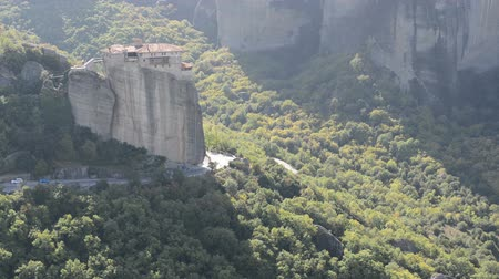 meteora : View from above on the Rousannou - St. Barbara monastery, Meteora,  Greece