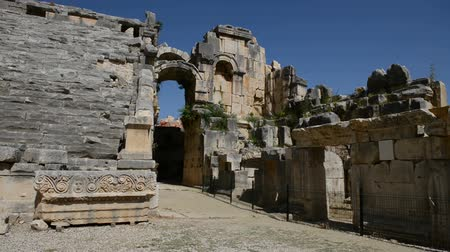 antalya : The panning of ancient amphitheater in Myra, Turkey