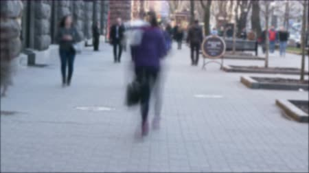 blur : people on street. 4K 3840x2160 Blurred time lapse scene Stock Footage
