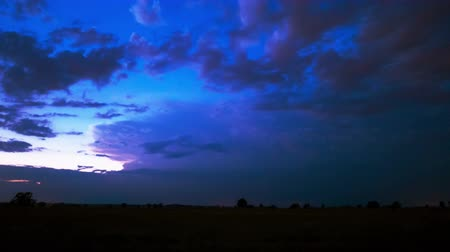 terribly : Night thunder-storm with lightnings in field., 4K 4096x2304. Time lapse