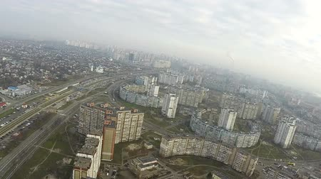 aeroespaço : Fly like bird with turns over autumn city. Kiev, Ukraine, Aerial Vídeos