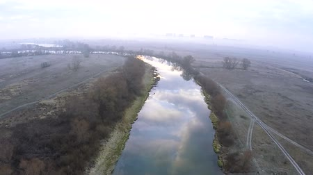 aeroespaço : 50 seconds of Beautiful autumn river. Flight at low height .Aerial