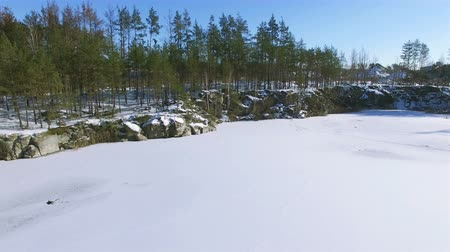 aeroespaço : 4K Aerial. Winter fly over frozen lake with trees. Low height rear movement Vídeos