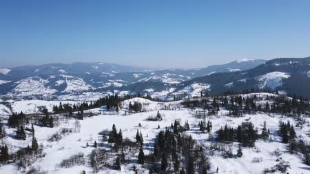 4K.Aerial.Winter time in mountain hill.Panorama Стоковые видеозаписи